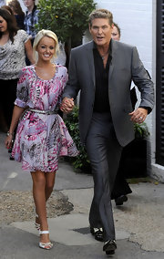 Hayley Roberts looked girly in her butterfly-print dress as she left Fountain Studios with David Hasselhoff.