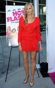 Daryl Hannah chose this red mini dress for her look at the premiere of 'The Hot Flashes.'