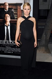 Kristen Bell showed off her glamorous maternity style with this black halter gown by Dsquared2 at the premiere of 'The Judge.'