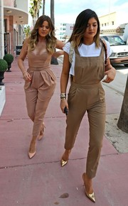 Kylie Jenner kept it youthful yet chic in tan ASOS overalls while shopping in Miami.