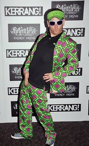 Corey Taylor made a grand entrance at the Kerrang! Awards wearing this zany green and purple suit.