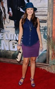 Diana DeGarmo opted for a casual look with this sleeveless denim button-down and mini skirt combo at the 'Lone Ranger' premiere.
