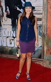 Diana DeGarmo paired a purple mini skirt with a denim shirt for her dressed-down red carpet look during the 'Lone Ranger' premiere.