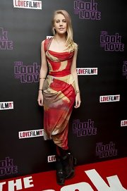 Inda James chose a printed dress for her chic abstract look at 'The Look of Love' premiere.