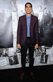 Dev Patel opted for a tailored blazer in a rich eggplant color for the premiere of 'The Newsroom' season 2.
