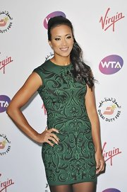 Wearing a green printed mini dress at the Pre-Wimbledon Party, Anne Keothavong looked elegant with a sporty vibe.