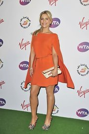 Heidi Range matched her bright dress with a pair of leopard peep-toe pumps at the Pre-Wimbledon Party.