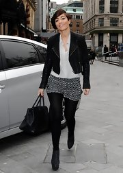 Frankie Sandford added these print shorts to her look for just a pop of texture.