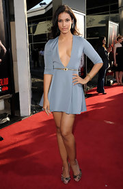 Janina wore a slate blue cocktail dress with a dramatic plunge for the 'True Blood' season premiere.