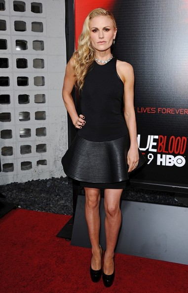 Anna Paquin rocked this sleeveless black and leather LBD at the 'True Blood' season 6 premiere.