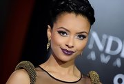 Kat Graham wore soft shades of lavender and icy blue eyeshadows at the premiere of 'Underworld: Awakening.'