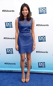 Aubrey Plaza was a style star at the VH1 Do Something Awards in her nude strappy sandals and blue leather dress.