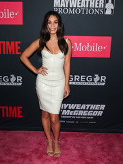 Vanessa Hudgens looked va-va-voom in a white latex bustier dress by House of CB at the Mayweather vs. McGregor pre-fight party.