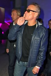 Jean-Claude Van Damme looked oh-so-cool in his blue leather jacket during Radio FG's 20th anniversary party.