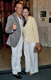 Jean-Claude Van Damme matched white slacks with a taupe jacket while promoting 'The Expendables 2.'