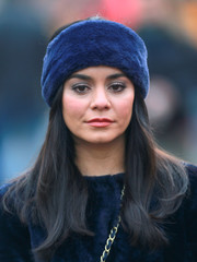 Vanessa Hudgens was seen on the set of 'Second Act' wearing a navy fur headband and a matching coat.
