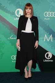 Bryce Dallas Howard layered a boxy black cropped jacket over a white shirt for the Variety Power of Women event.