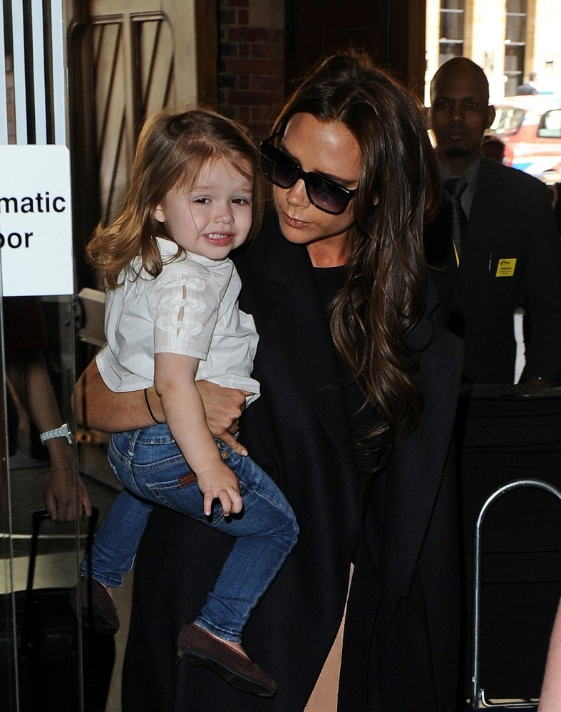 02nd May 2013.  Victoria Beckham and her daughter Harper seen at the Eurostar terminal, St Pancras International, London.