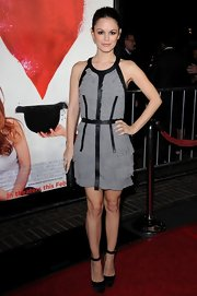 "Rachel Bilson wore black satin Ole Ole platforms with ankle straps to the premiere of her new film ""Waiting for Forever."""