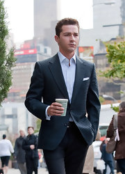 Shia LaBeouf looked totally stylish in his checkered navy blazer while filming 'Wall Street 2.'