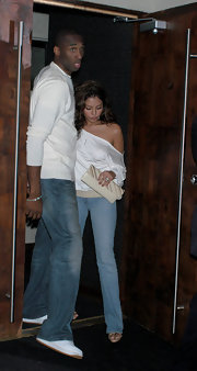 Vanessa Bryant was casual yet chic in a white off-the-shoulder top and jeans during a dinner date with husband Kobe.