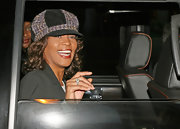 Whitney Houston was wearing a tweed newsboy cap at LAX.