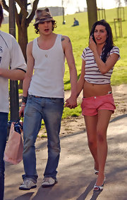 Amy Winehouse wore a pair of super low-rise pink short shorts while out in Primrose Hill.