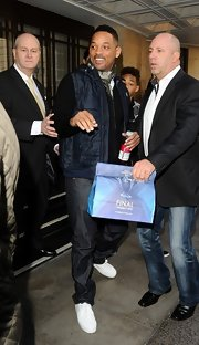 Will Smith looked cool as ever in this navy puffer vest.