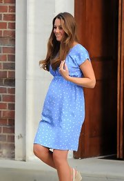 Only Kate Middleton could  look this amazing in this powder blue polka-dot dress after giving birth to her first child.