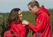 Prince William and Kate Middleton wore matching red hoodies for their Canadian tour.