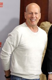 Bruce Willis looked comfy and casual in a cream crewneck sweater while promoting 'A Good Day to Die Hard.'