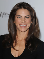 Jillian Michaels wore her hair in a face-framing center-parted style with curled ends during the Women in Entertainment breakfast.