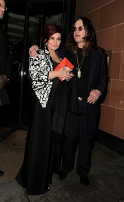 Sharon Osbourne enjoyed a night out in London wearing a stylish black-and-white embroidered blazer.