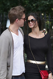 Shermine Shahrivar wore a pair of large oval sunnies while out with her beau.