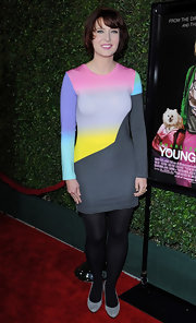 Diablo Cody wore a vibrant knit dress with long sleeves for the 'Young Adult' premiere.