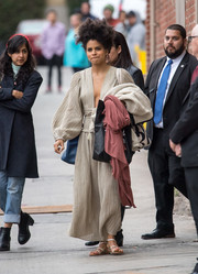 Zazie Beetz ditched her heels for these flat sandals while leaving 'Kimmel.'
