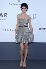 Audrey Tautou showed off another lovely frock when she wore this lace dress with a tiered horse-hair hem.
