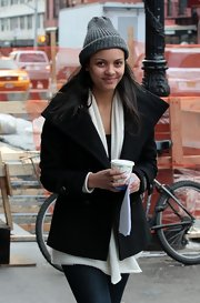Jessica Lucas bundled up in a warm black pea coat while filming 'Are We Officially Dating?'