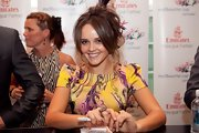 Rebecca Breeds rocked a messy yet chic updo at the Emirates Stakes Day.