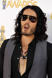 Russell Brand showed off his cool vest and aviator shades while hitting the MTV Movie Awards in LA.