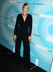 Jenna Elfman wore a chic black jumpsuit at the 2011 Crystal & Lucy Awards.