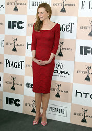Nicole Kidman donned pointy pink and white printed Vera pumps to the Independent Film Awards.