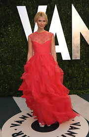 Claire Danes was pretty as a princess in a hot pink dress with a ruffled skirt and sheer decolletage.