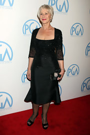 Helen Mirren attended the 22nd Annual Producers Guild Awards in classic black platform peep toes.