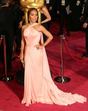 Jada Pinkett Smith stunned in a blush silk halter gown with flowing train at the 2014 Academy Awards.