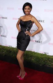 Bria Murphy's hot pink peep-toes were a funky finish to her outfit at the Teen Vogue Young Hollywood Party.