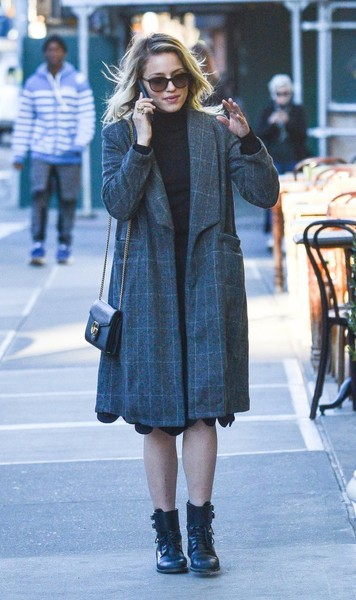 Dianna Agron strolls through NYC in an oversized wool coat.