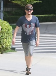 Adam Lambert sported this printed V-neck tee while out in Hollywood.