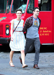 Keira Knightley was spotted on the set of Adam Levine's latest music video wearing this sweet striped dress.