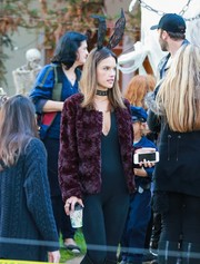 Alessandra Ambrosio looked oh-so-cute wearing these lace bunny ears by PrettyLittleThing while trick-or-treating.